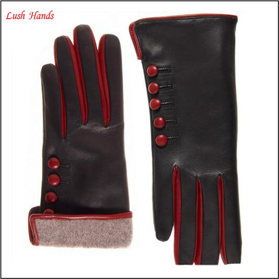 2015 fashion ladies black sheepskin wool lining leather gloves with button