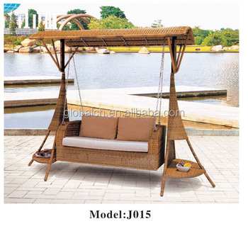2017 round rattan outdoor hanging swing rattan swing bed for Round hanging porch bed