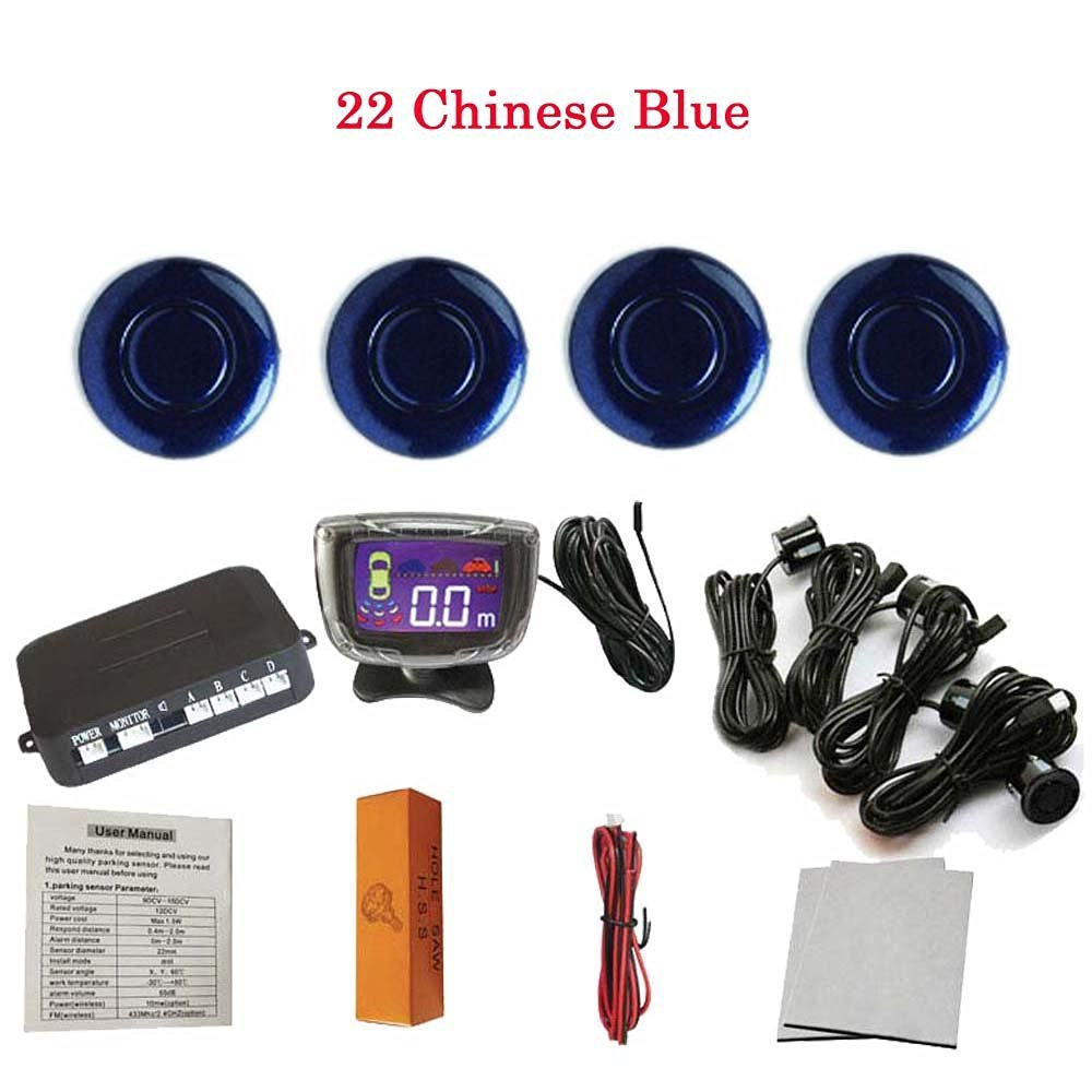 Eaglerich 4 Sensors 22mm Buzzer LCD Parking Sensor Kit Display Car Reverse Backup Radar Monitor System 12V 22-Chinese Blue