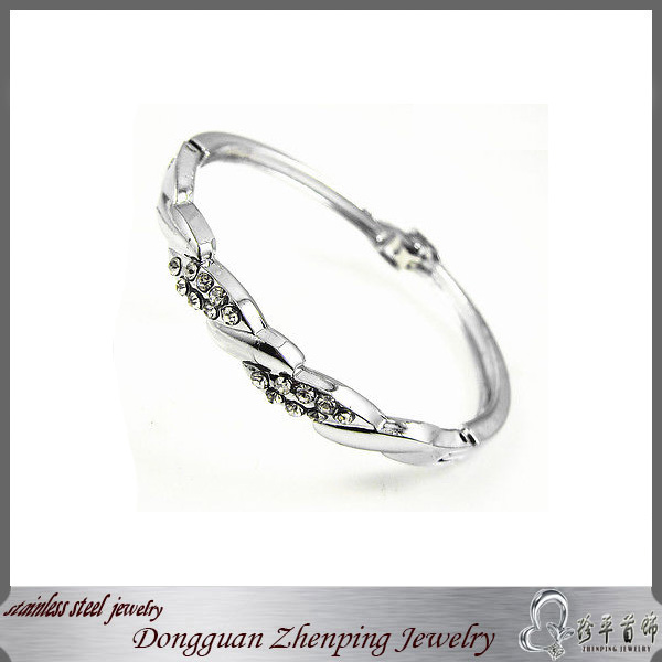 Womens Polished Stainless Steel Clear CZ Bracelet Bangle