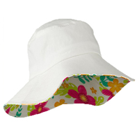White color cotton wide brim canvas cap foldable sun hat