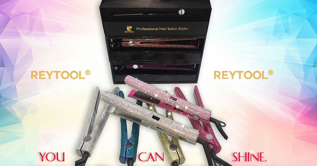 Wholesale cheap best custom 1 inch crystal flat iron with bling