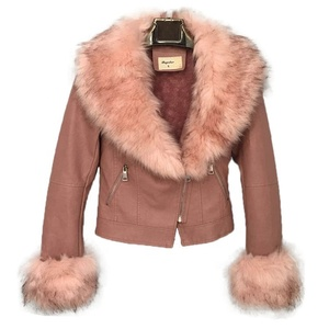 Winter Short PU jacket women Pink leather jacket with Fur Collar