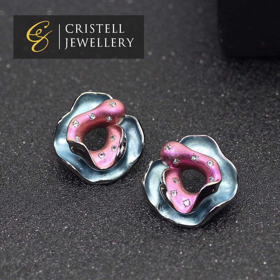 Beautiful Pink and blue extra hard Ultra light anti allergic pure Titanium earrings studs jewelry for woman with white Sapphire