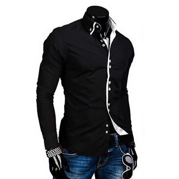 Sonjer European Size Mens Shirt New 100/% Cotton Slim Business Casual Clothing Long Sleeve Chemise