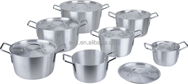 Aluminum oblique vegetable shaped cooking pots with iron handle