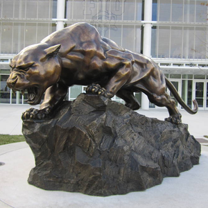 Outdoor Bronze Life Size Black Panther Statue Leopard Sculpture