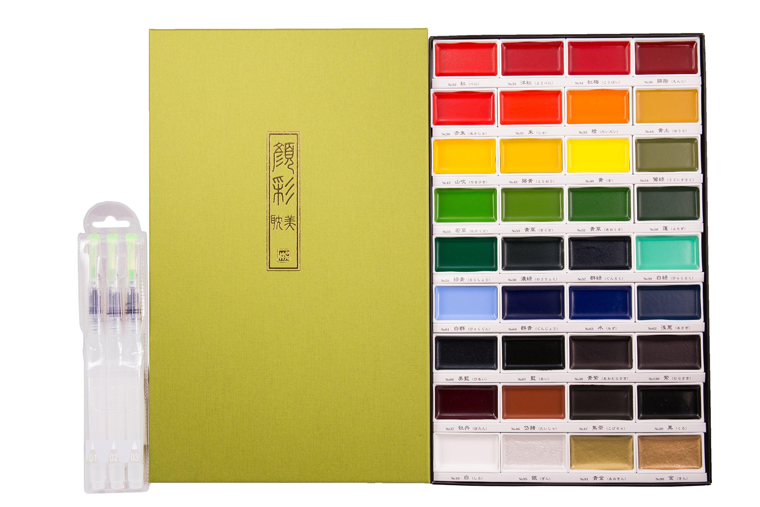 KURETAKE Gansai Tambi 36 Color Set ( MC2036V ) with JEINDEER Arts Water Brush Pen Assorted Tips Pack of 3
