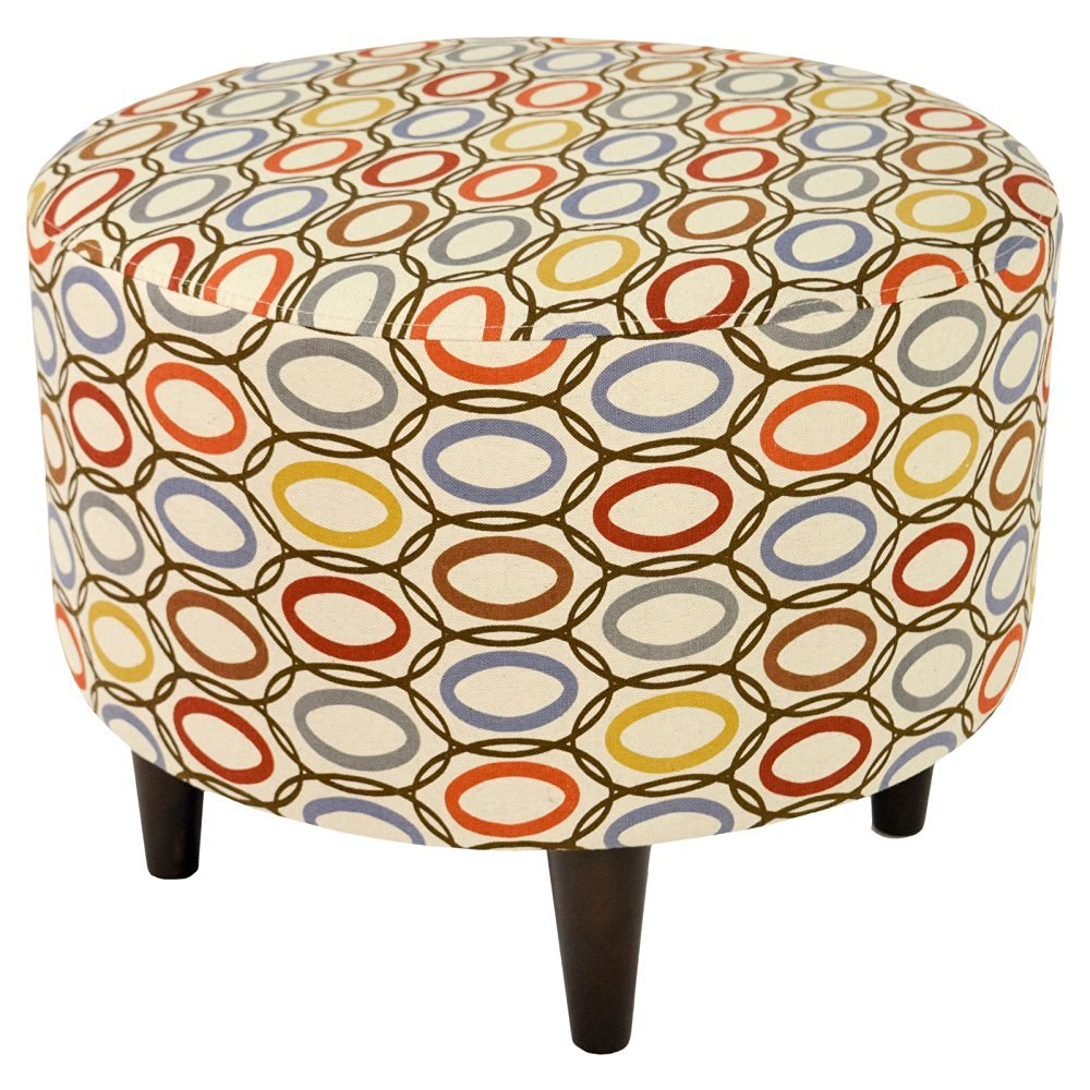 MJL Furniture Designs Sophia Collection Coll Vera Series Contemporary Round Ottoman, Harvest/Red/Blue/Brown/Yellow/Wooden Legs