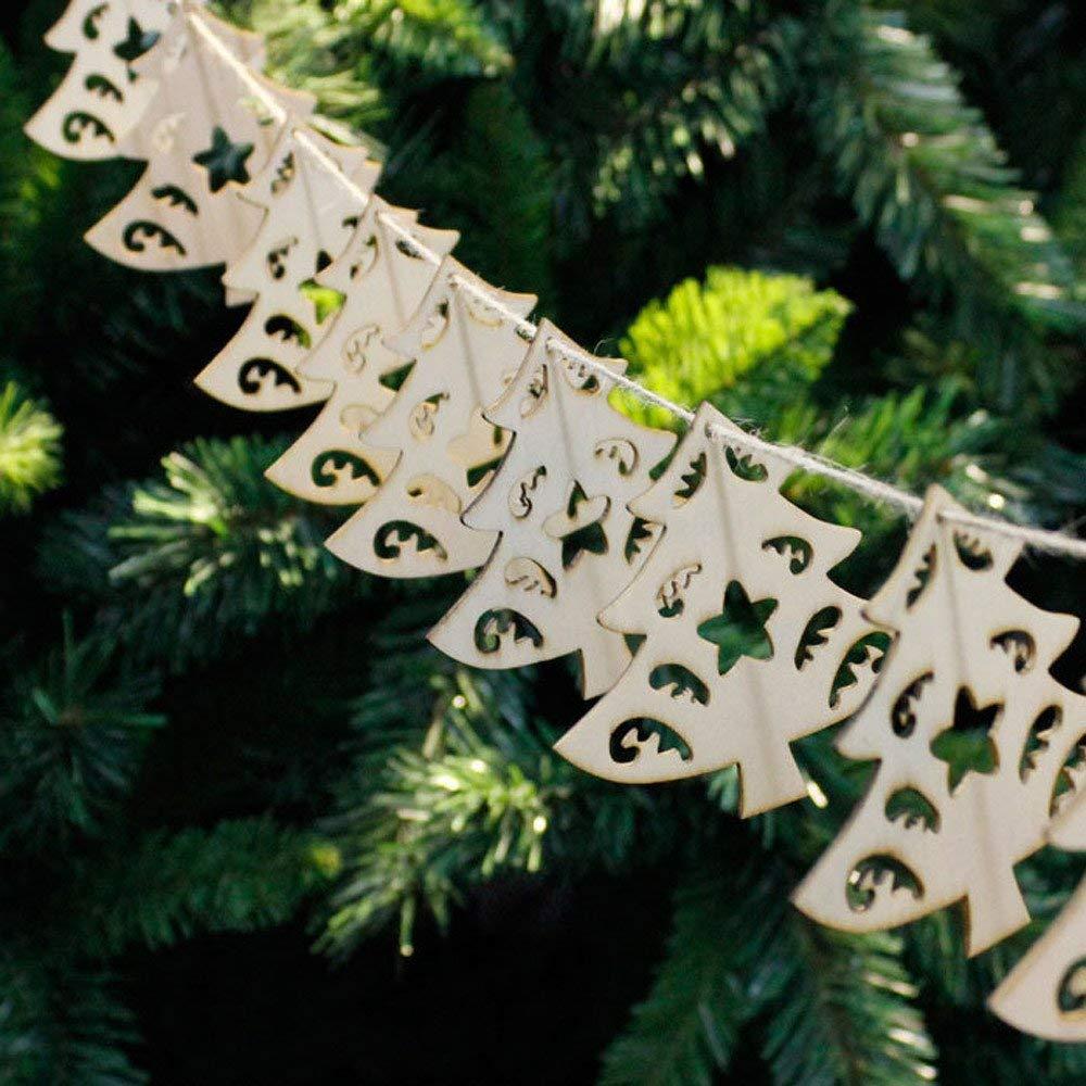 HOMDC New Year 10Pcs Christmas Wood Chip Tree Ornaments Xmas Hanging Pendant Decoration Gifts DIY Christmas Tree Decorations B