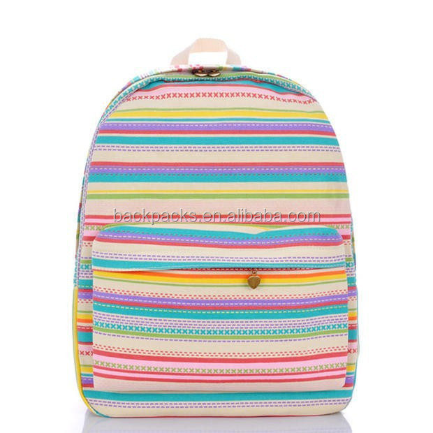 Promotion Export Quality Female Canvas Backpack School Bags Rainbow Stripes Printed Students Casual Travel Backpacks Bags