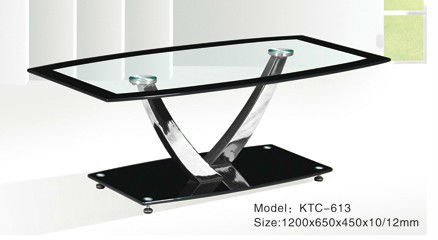 2013 Modern tempreted glass chromed leg Coffee Table