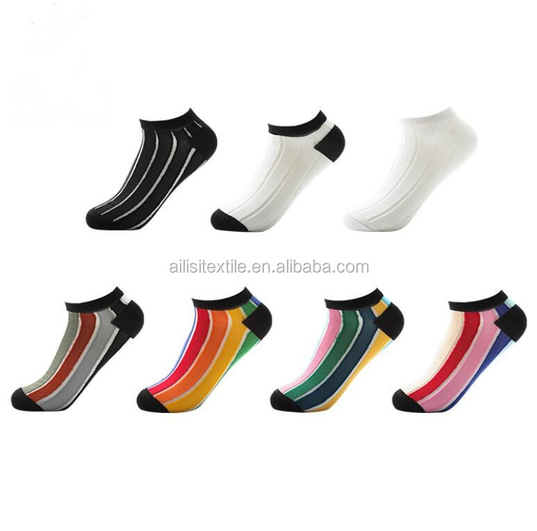Ladies Colourful Striped Ankle Socks