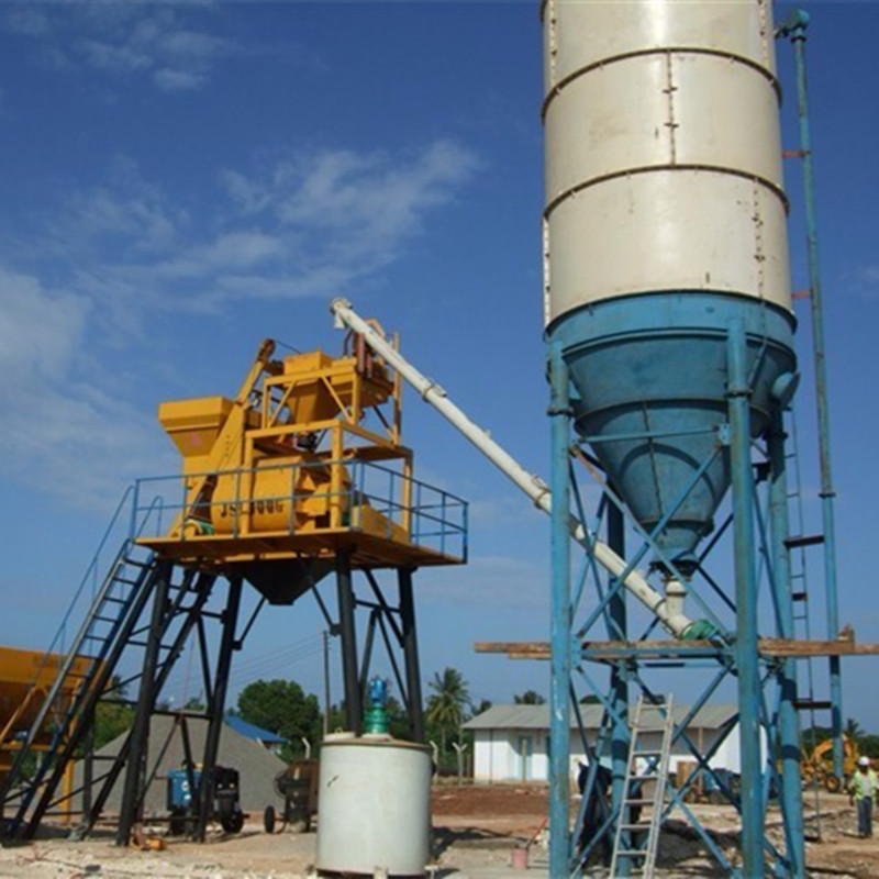 50m3/h HZS50 Hopper Lift Small Cement Batching Plant
