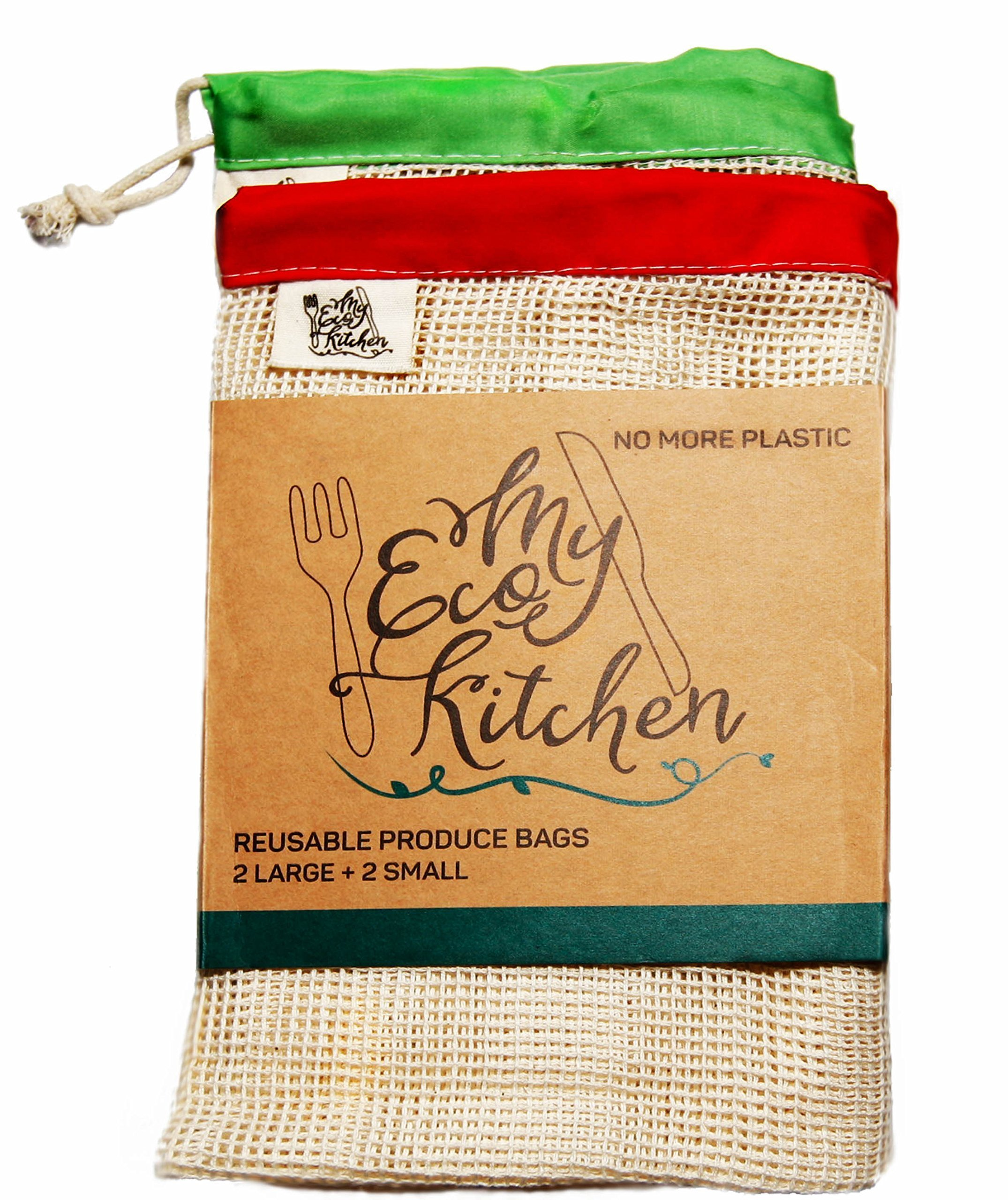 My Eco Kitchen Reusable Produce Bags - Cotton Mesh Produce Bags - Washable - Biodegradable - Set of 4 - Eco Friendly - No More Plastic - Perfect Eco Friendly Gift""
