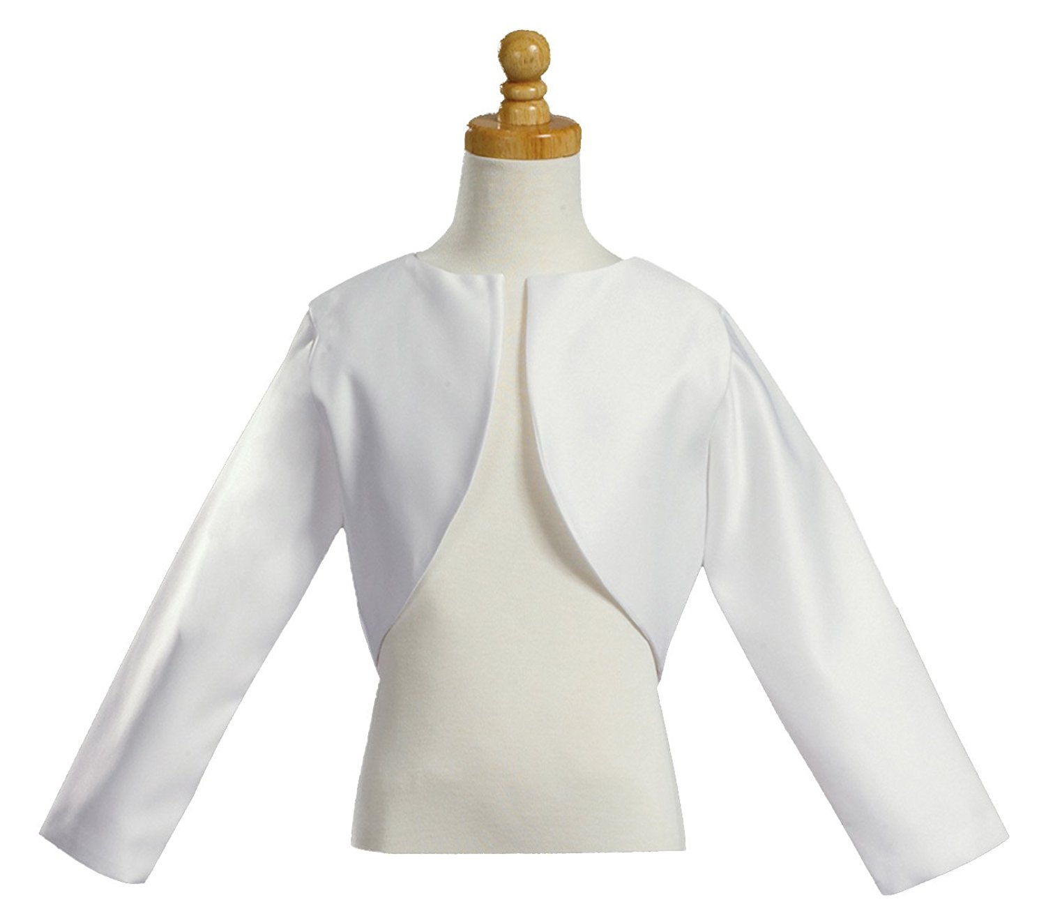 b09fb88a6c9e0 Get Quotations · Girl s White Long Sleeve Satin Bolero Jacket - Size 12