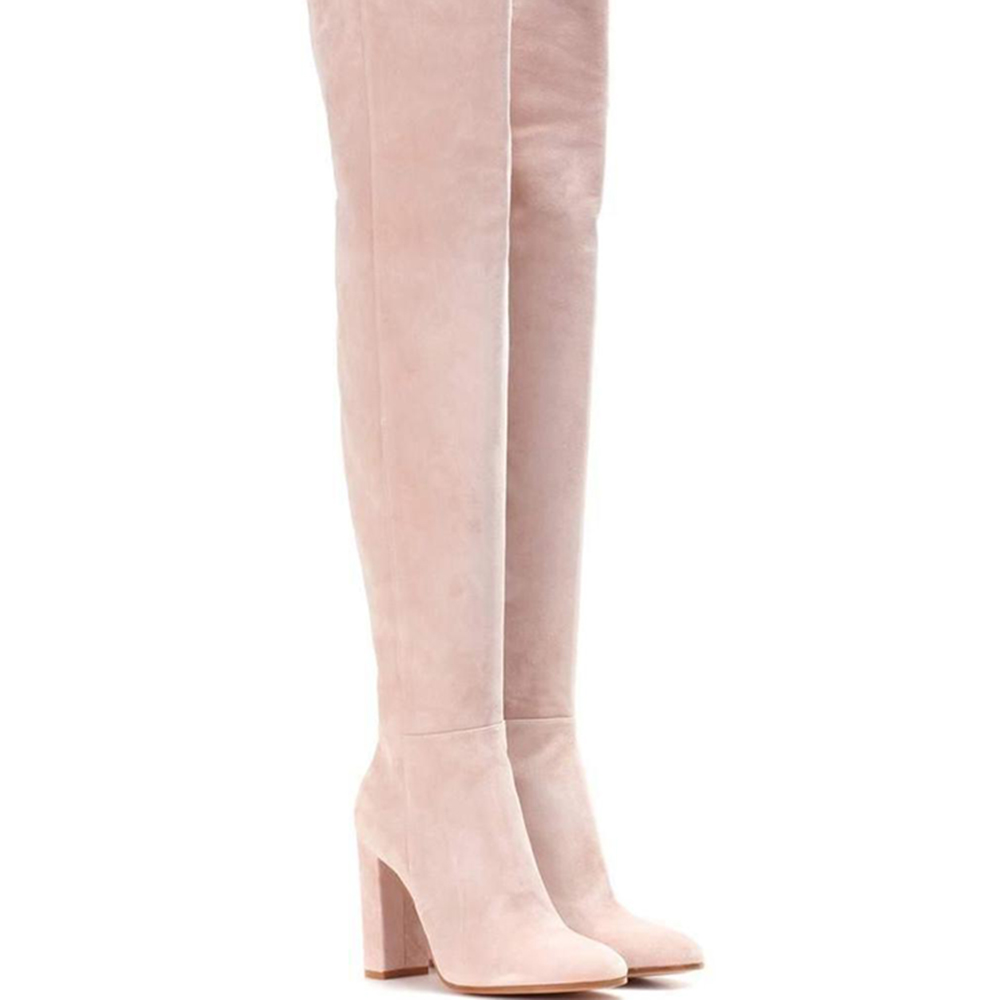 Wholesale Light Pink Suede Thigh High