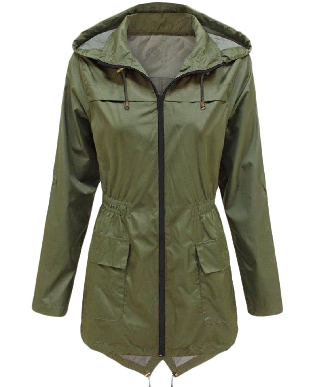 Zimaes-Women Solid-Colored Hoode Zip Up Mid-Long Waterproof Trench Coat
