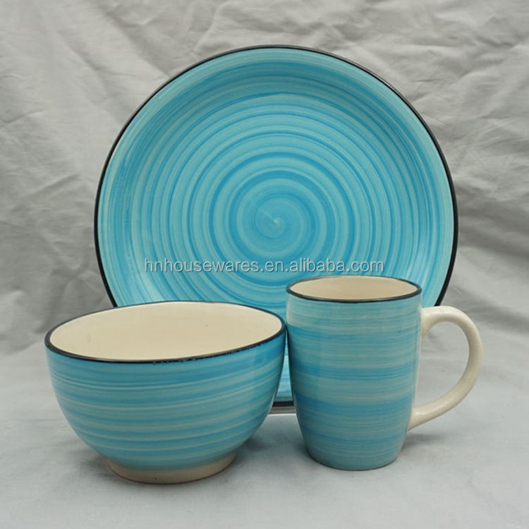 Ceramic tableware sets blue color best stoneware 9pcs hand painted dinner set