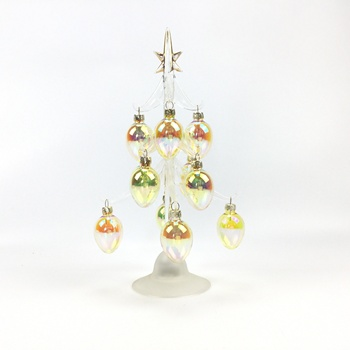 2019 New Arrival Wholesale indoor glass tree with 12pcs ornaments, christmas gift for holiday