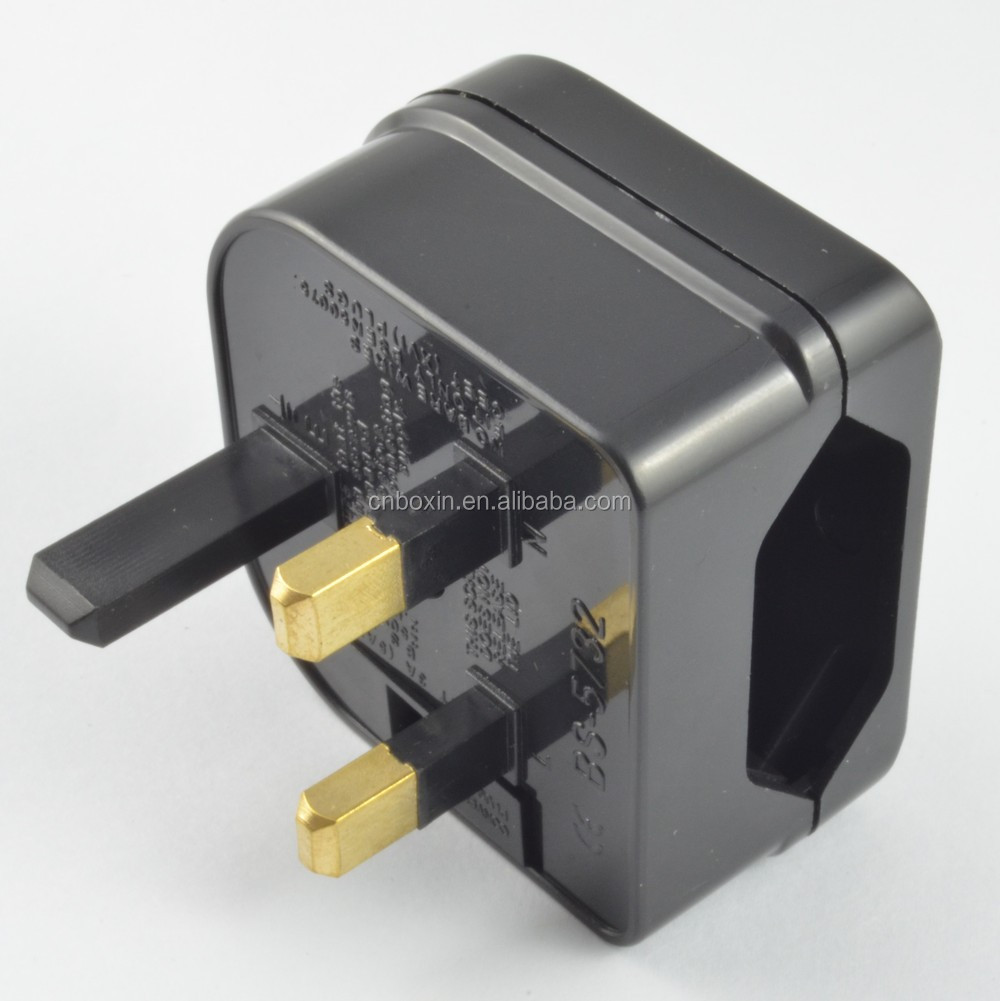 euro transformer to uk adapter plug with fuse CE LVD EMC ROHS certificate plug adaptor eu to uk