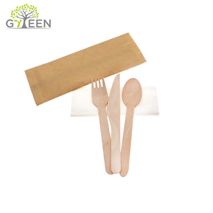 Paper Packing Airline Hotel Disposable Wooden Cutlery