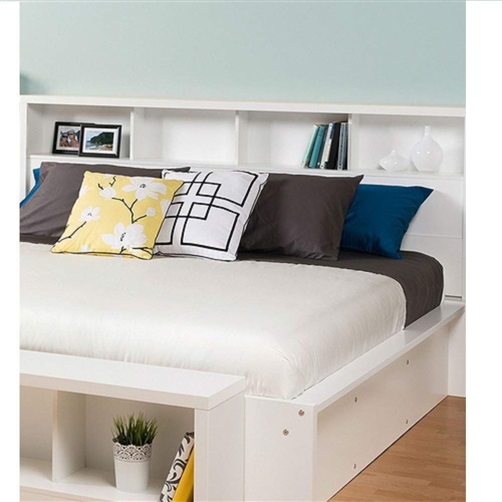 King Size Bookcase Headboard Storage Shelves in White Upholstered Bedroom Tufted Furniture Modern MyEasyShopping