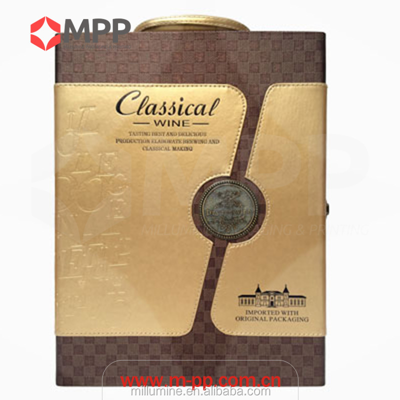 Cardboard leather box with handle /classical wine box / custom packaging printing