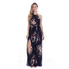2019 new design bulk wholesale chiffon floral ladies long dresses from china summer casual sexy halter split sexy maxi dresses