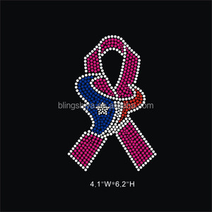 Texans ribbon hot fix rhinestone transfer