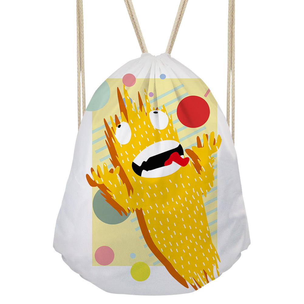 wholesale cute kids drawstring cotton bag with full color heat transfer printing