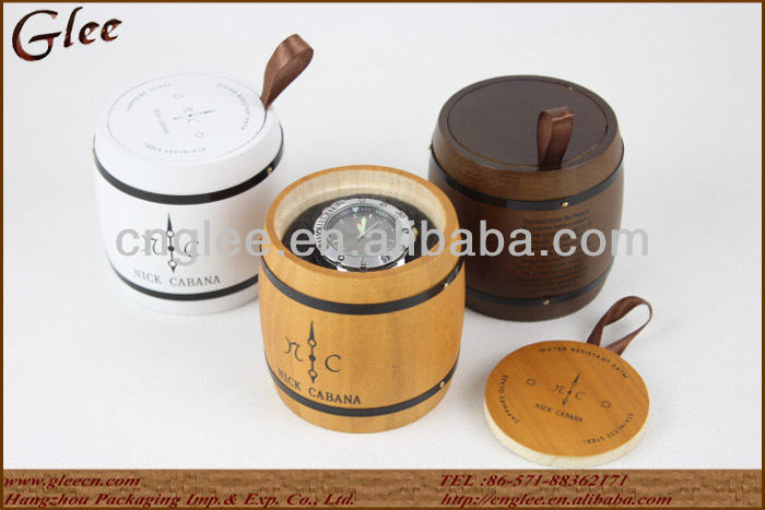 New Design Custom Color Barrel Shape Wood Watch Box with Logo