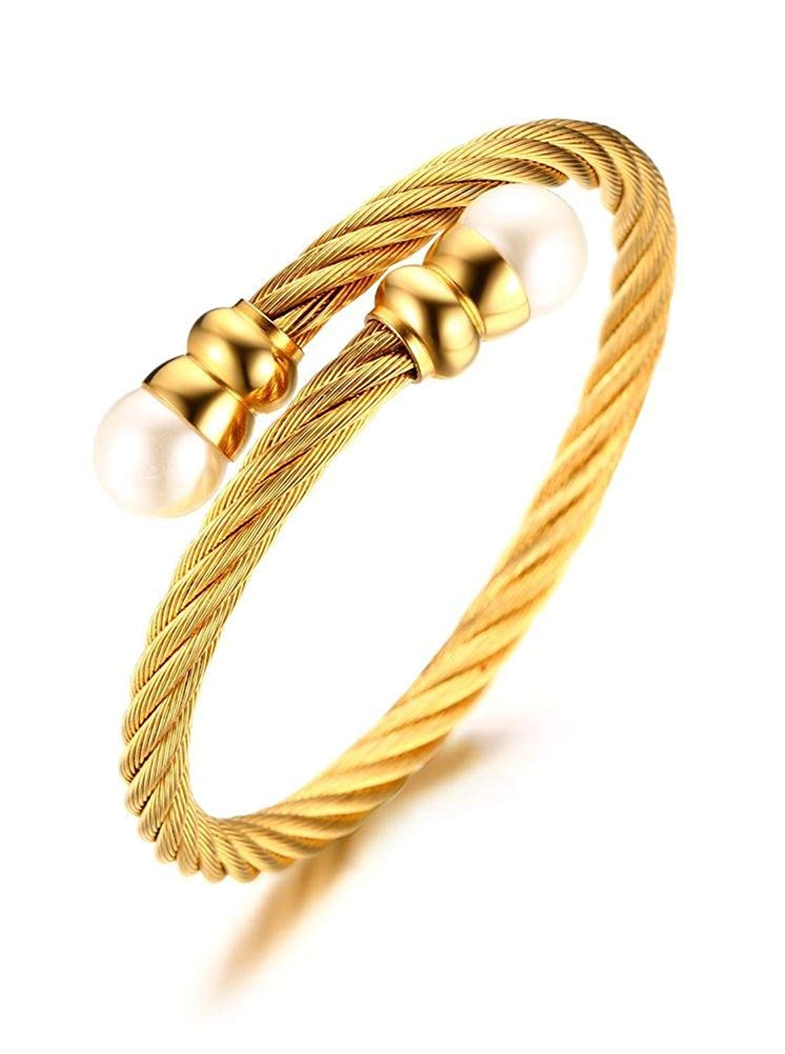 314de72b1c9 Get Quotations · PJ Jewelry Gold Plated Stainless Steel Twisted Elastic Cable  Wire Wrap Bangle Bracelets for Women