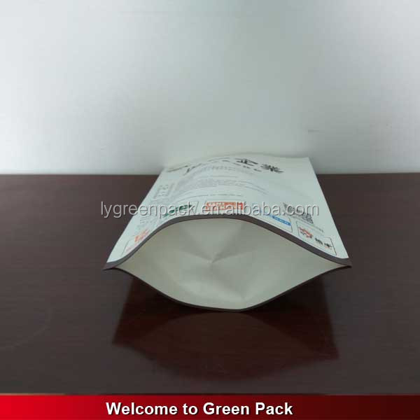 resealable white kraft paper standing up pouch zipper bag for rice packaging