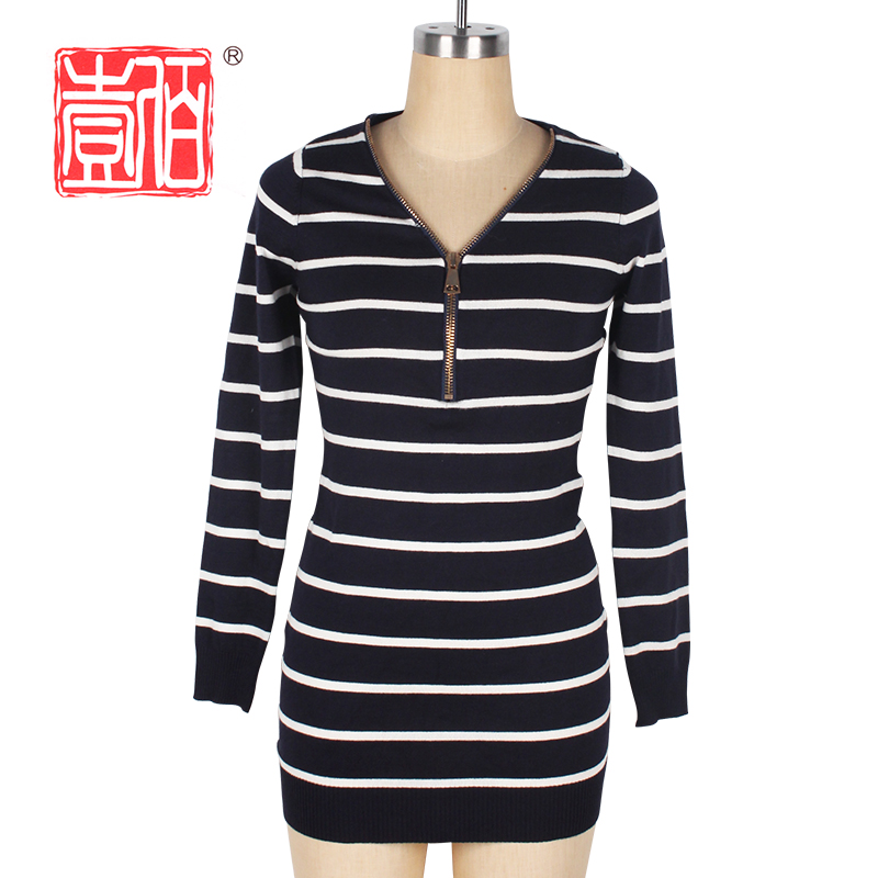 Slim sweater V neck lengan panjang pullover stripes knit lady dress dengan zipper