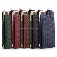 High Fashion Soft Leather Phonecase Woven Pattern Band Card Portable Protective Cover For Iphone7