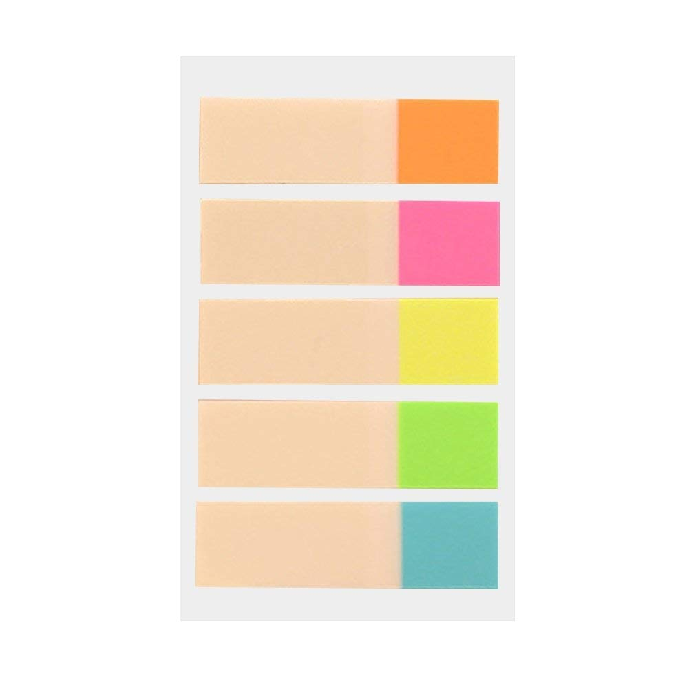 Ochine Note Sticker, Colorful Fluorescent Transparent Note Sticker in Bag, 5 Half Color Pack, Total 20 Pieces