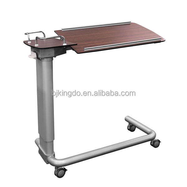 Adjustable Hospital Overbed Table With Rotating Table-top