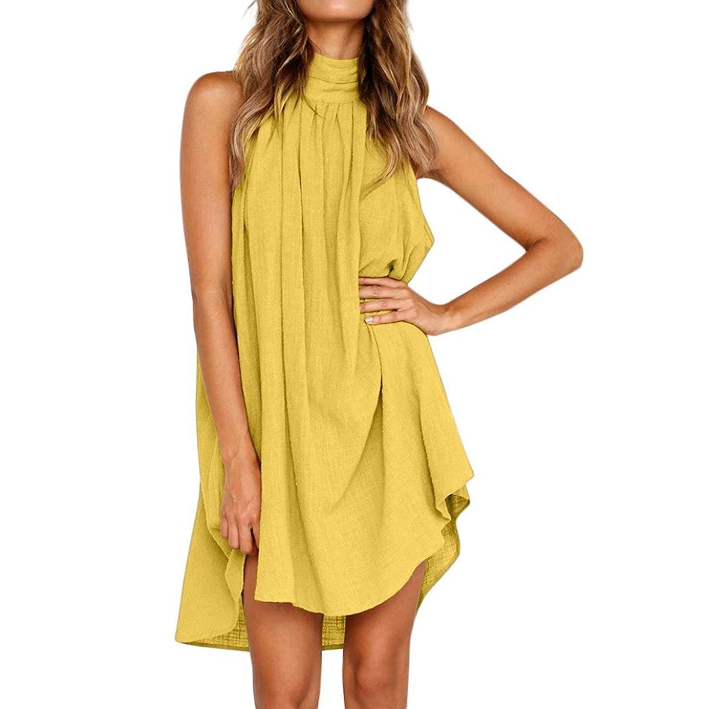Get Quotations · iQKA Women Ladies Elegant Turtleneck Sexy Backless Solid  Flowy Beach Party Mini Dress a2288c65d