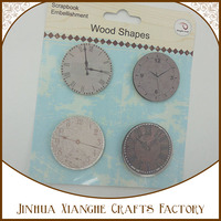 wholesale new arrival fashion clock design round cut wood shapes, small DIY printed wood round crafts