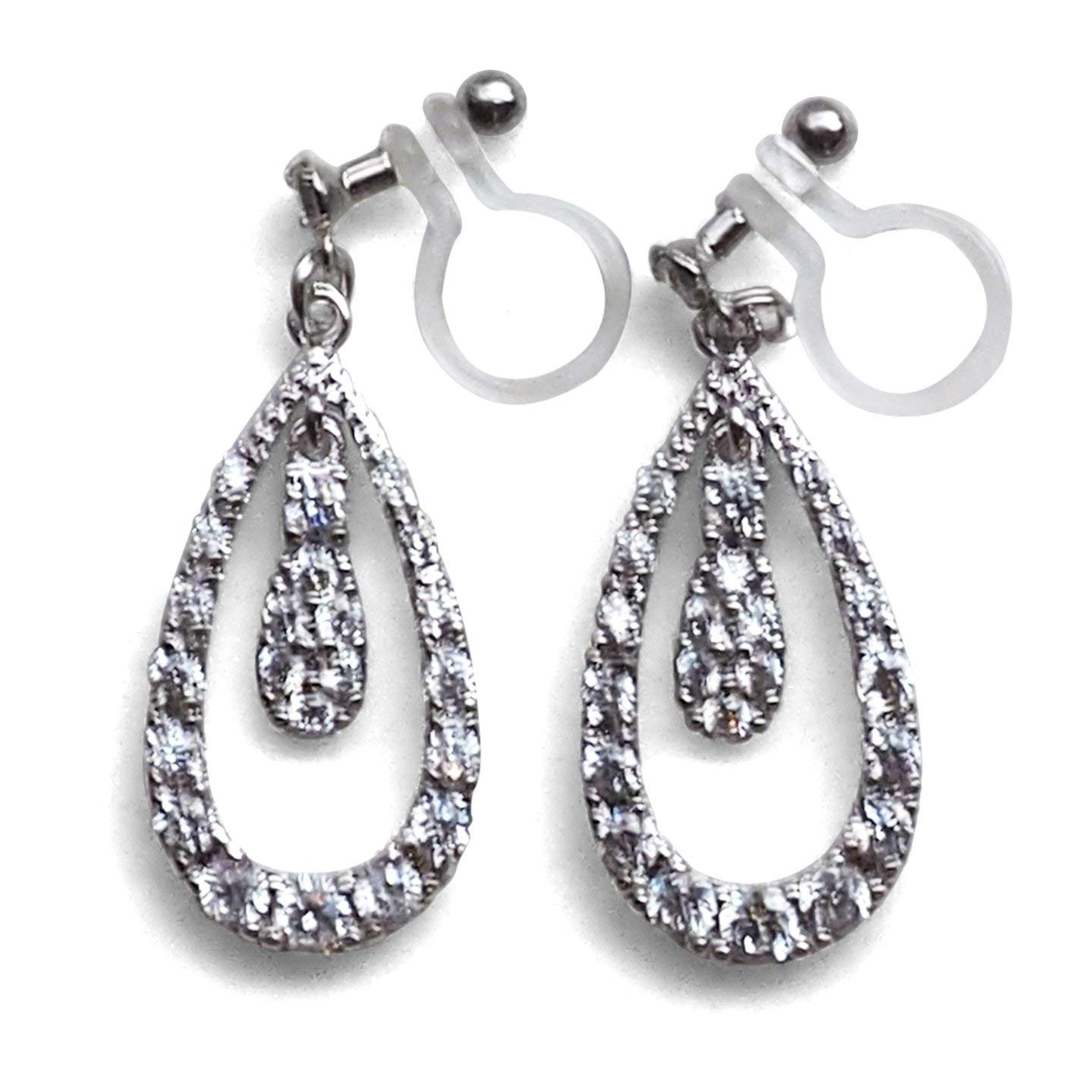 Cubic Zirconia Dangle Teardrop Silver tone Bridal Wedding CZ Crystal Drop Invisible Clip On Earrings