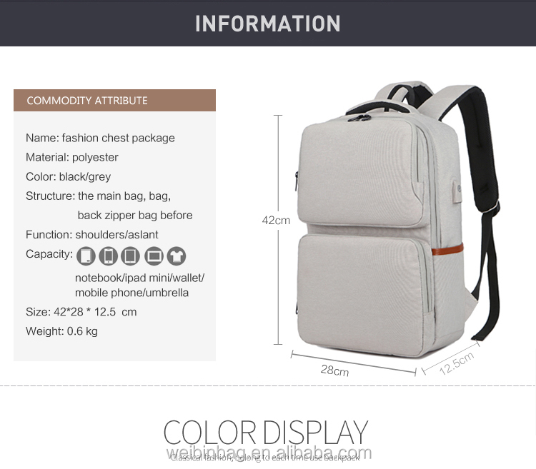 Multi-Function Interlayer Abrasion Proof Large Capacity Water Resistant Charging Backpack