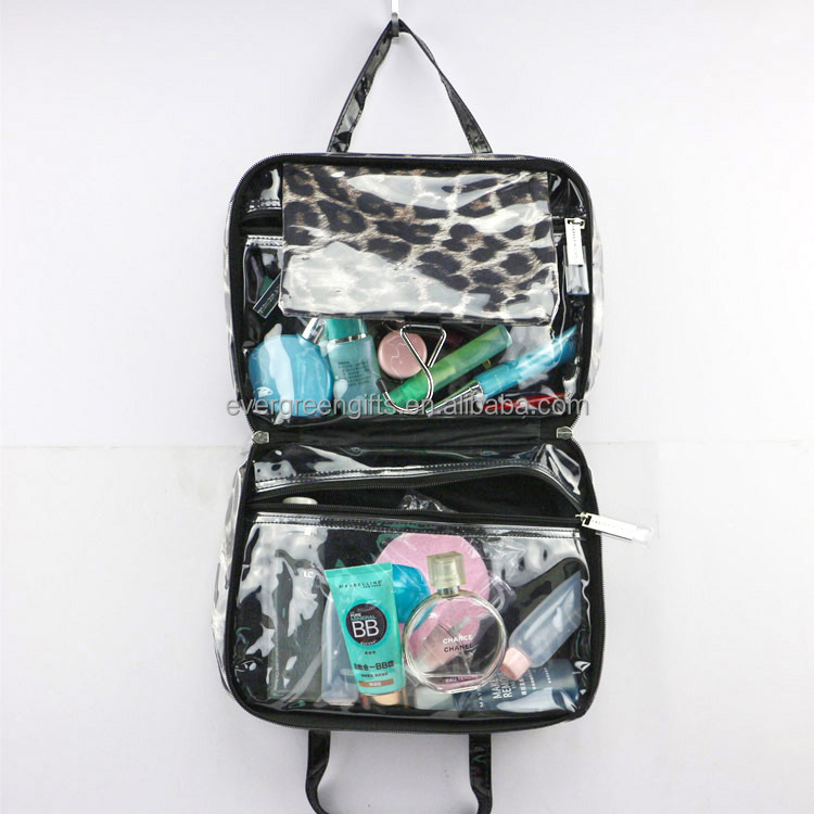 Multi-function clear PVC travel portable toiletry vanity case