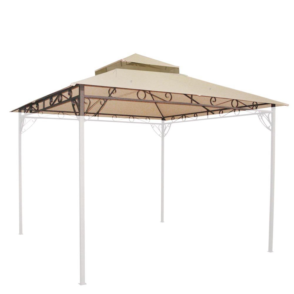 Durable 10x10 Ft Outdoor Patio Shelter Waterproof 2-tier Gazebo Canopy Cover Top Replacement Beige w/ 24 Velcro Straps Frames & 16 Grommets for Gardening Yard Relaxation Reading