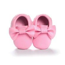 Baby Kids Casual PU Moccasins Prewalker Anti-Slip Walkers Girl Bowknots Shoes 0-18M