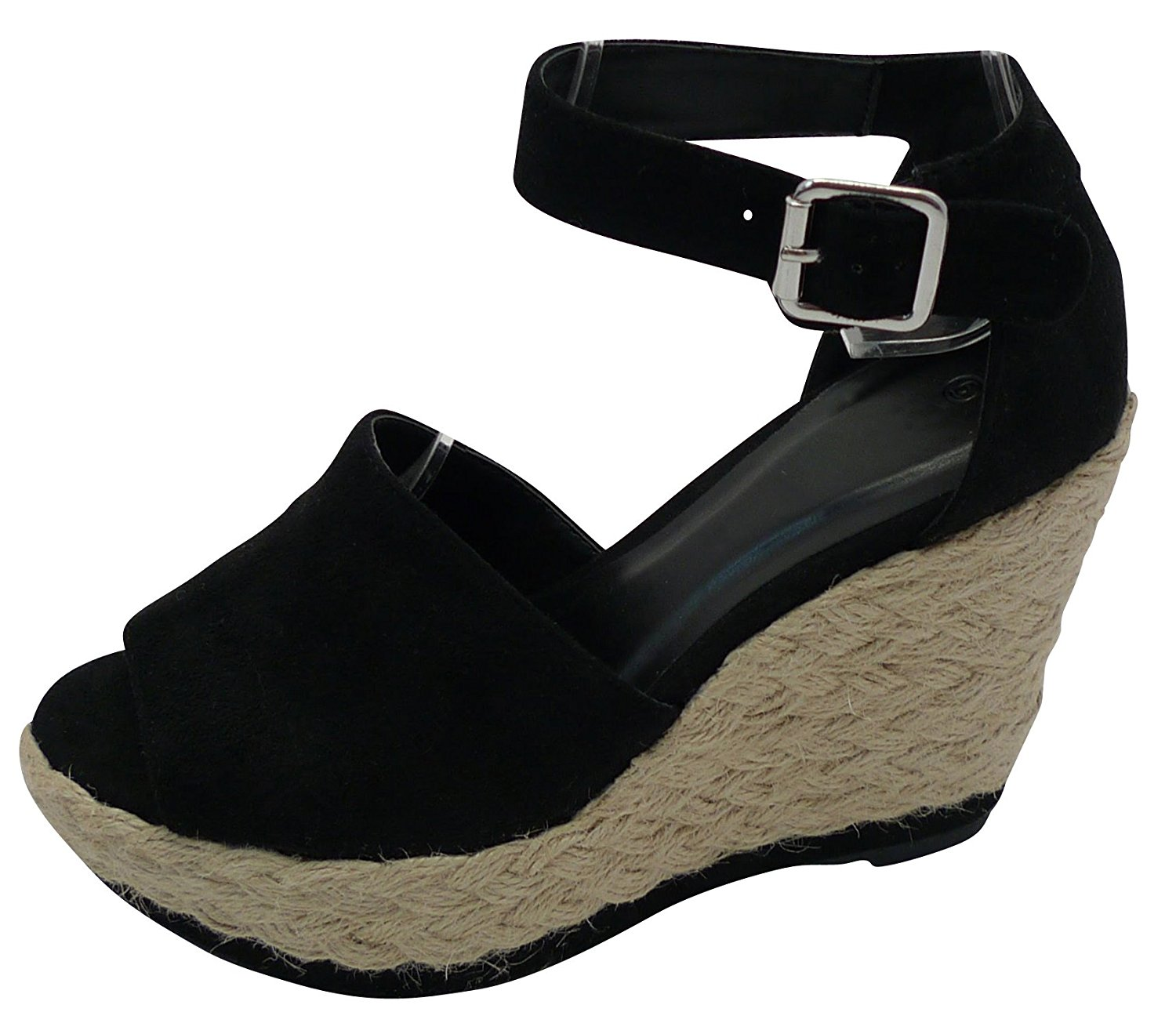 b0bc894e4c2 Get Quotations · Cambridge Select Women s Peep Toe Buckled Ankle Strap  Braided Rope Espadrille Platform Wedge Sandal
