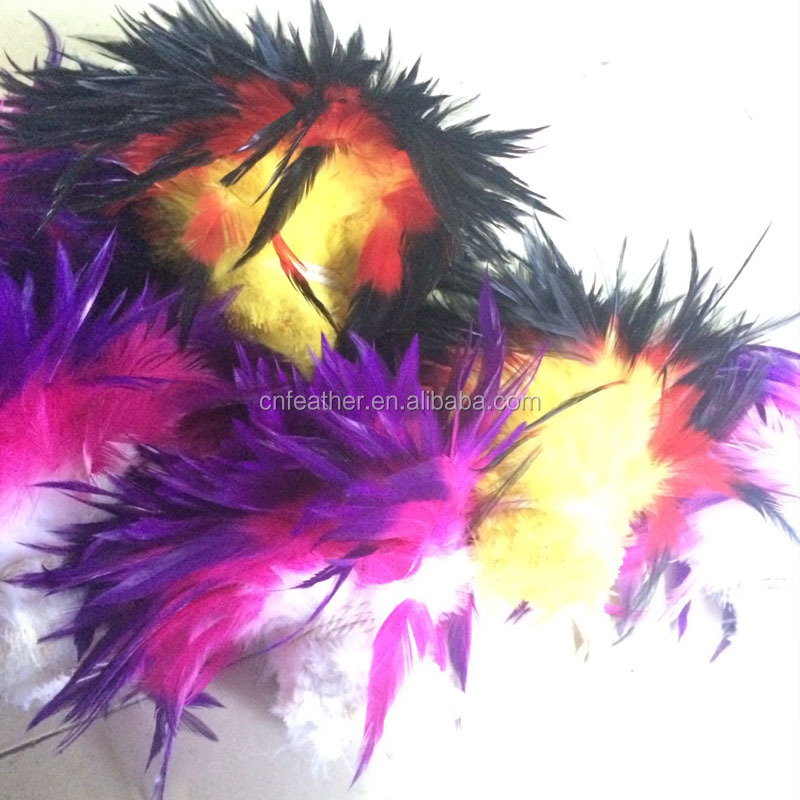 wholesale bleached three color Handmade cock saddle feather strung