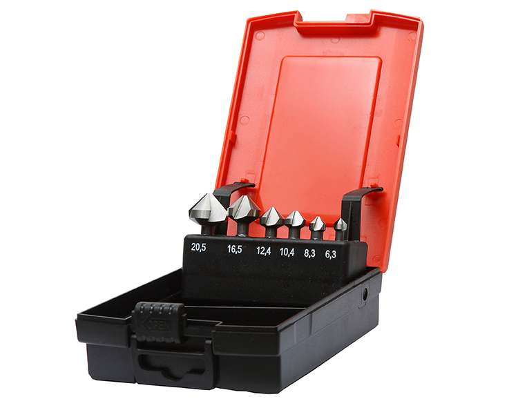 6Pcs  Cylindrical Shank 3 Flute HSS Countersink Drill Bit Set in Plastic Case for Metal Deburring