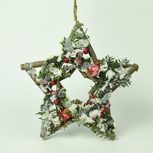 natural twigs and pinecones craft FSC BSCI outdoor home Christmas decorative hanging wood star