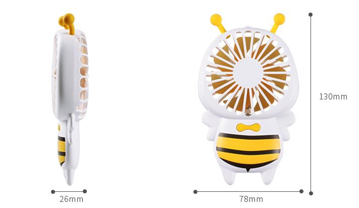 Wholesale Stock Small Order Cartoon Bee Shape LED Night Light Mini Handy Fan